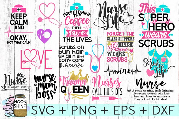 Nurse Bundle SVG DXF PNG EPS Cutting Files