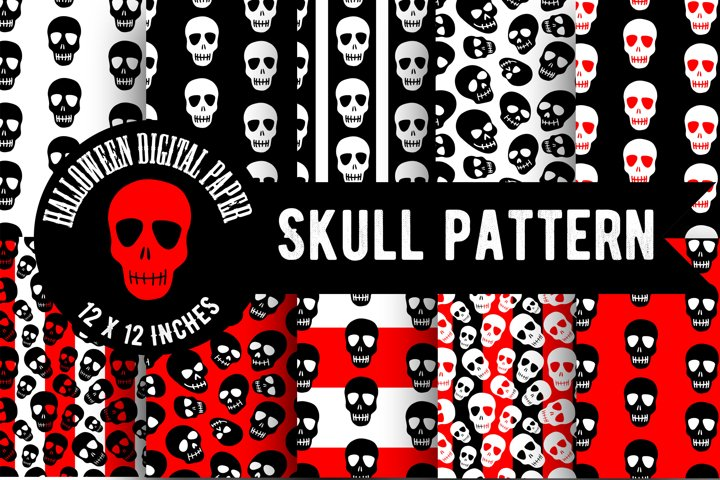 Skull pattern.Halloween Digital Paper,Skull wallpaper,PNG