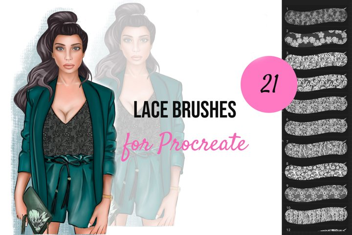 21 Digital Lace brushes for Procreate app