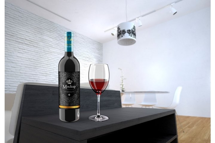 Wine Bottle and Glass Mockup with room scene