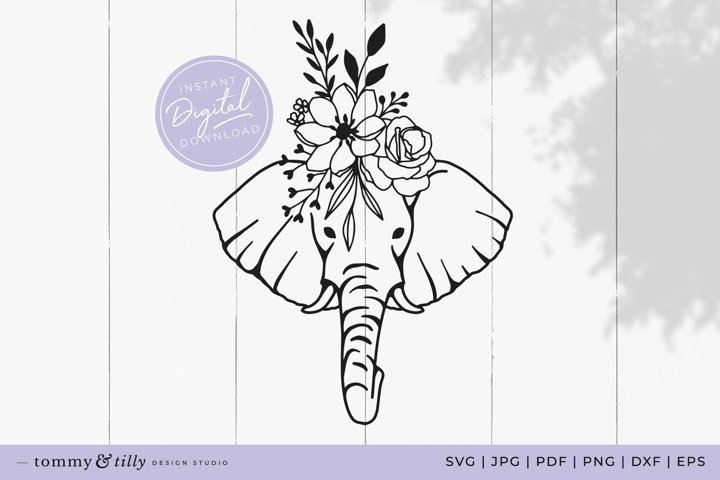 Flower Elephant No.2 SVG Cut File for Cricut and Silhouette