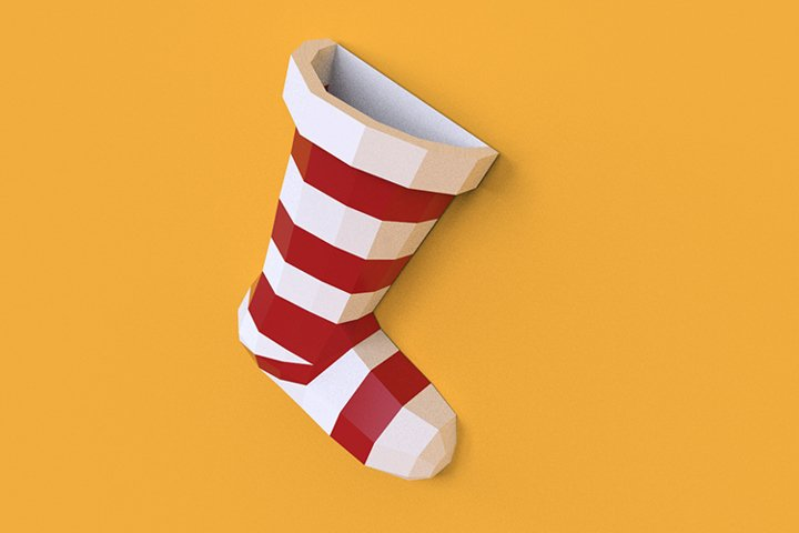 Paper cut Christmas sock low poly
