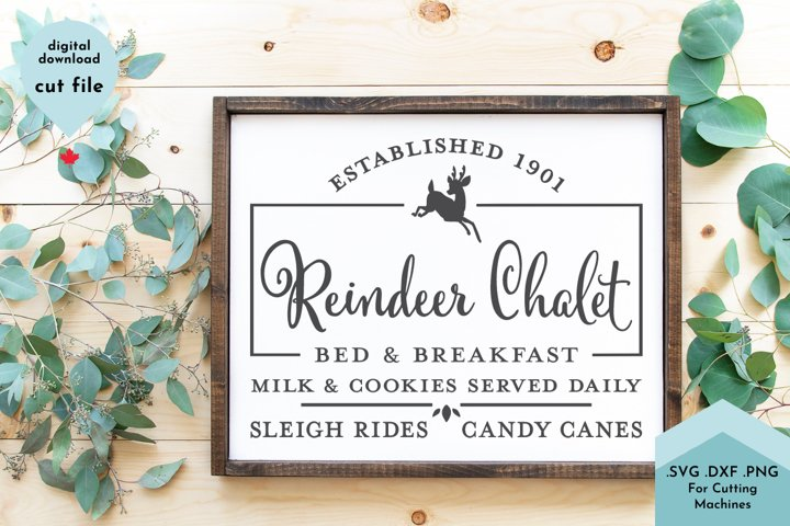 Christmas Sign, Reindeer Bed and Breakfast Vintage