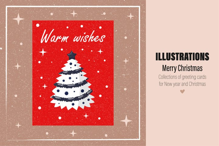 Collection of greeting cards for New year and Christmas