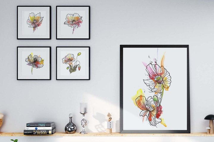 Set of Five Watercolor Flower Printable Wall Art