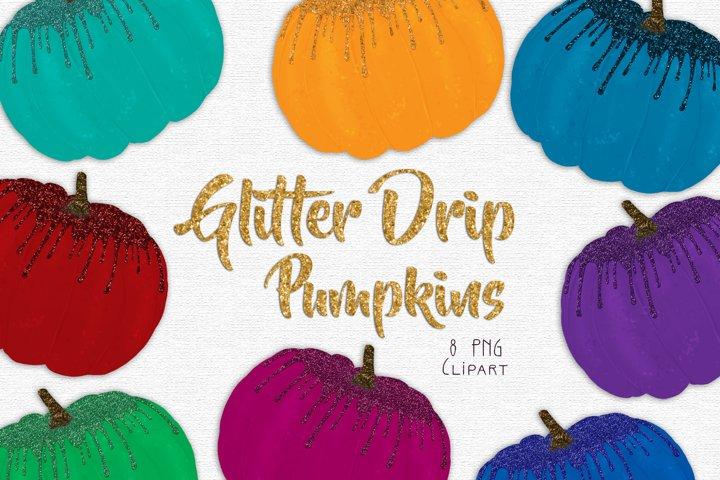 Glitter Drip Pumpkins Clipart Set