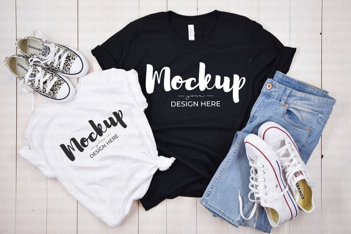 Mommy & Me, Casual Shirt Mockup, BC 3100T &3001 White, Black