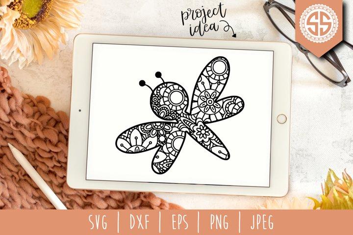Dragonfly Mandala Zentangle SVG, DXF, EPS, PNG, JPEG