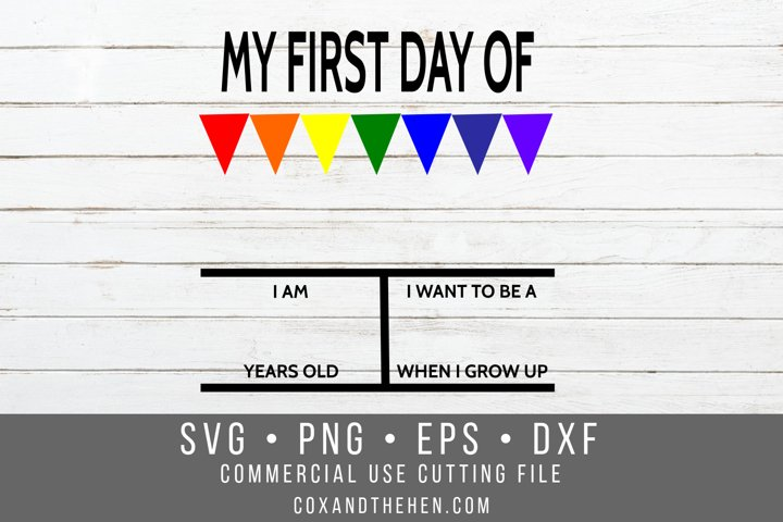 My First day of School Sign SVG