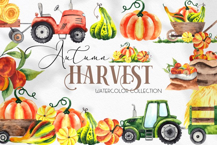 Watercolor Autumn Harvest