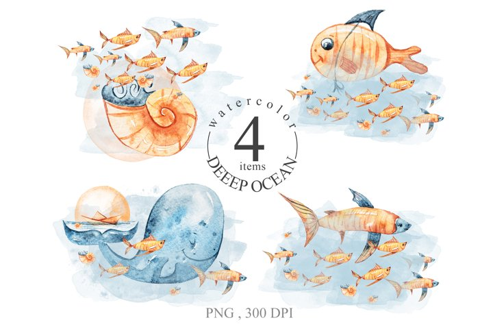 Watercolor deep sea creatures clipart. Cute whale and fish