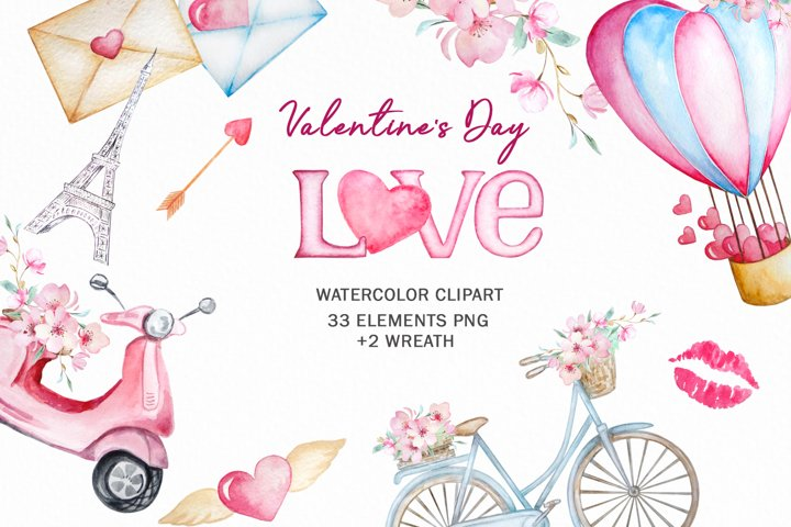 Watercolor Valentines Day Clipart, Love Clipart