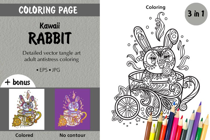 Coloring page for adult tangled kawaii rabbit in cup