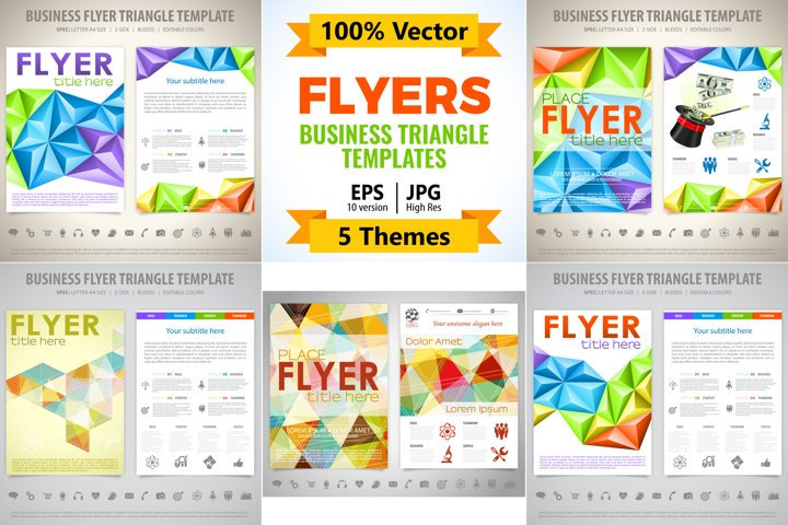 Flyers. Business Triangle Fliers Templates