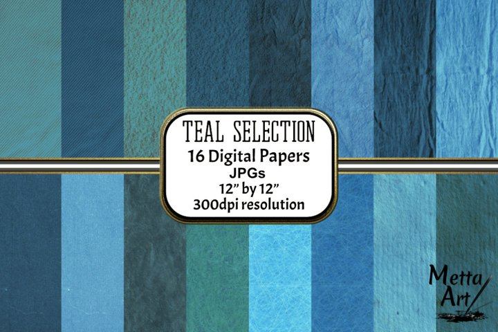 Teal Selection - 16 Digital Papers/Backgrounds