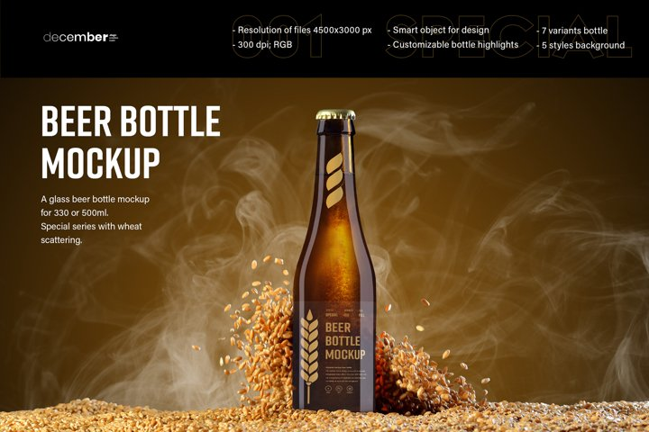 7 MockUps of Glass Beer Bottle With Flying Wheat