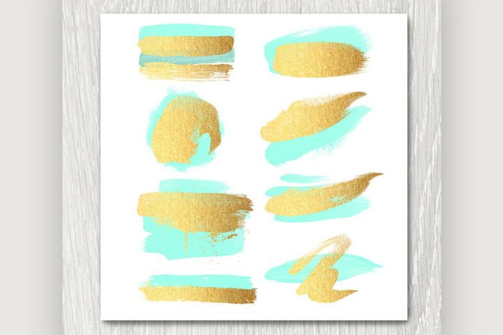 Gold and Mint Brush Strokes Clipart