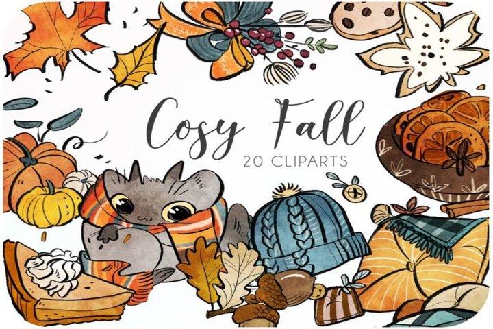 20 Fall watercolor clipart set - Fall pillows and pumpkin