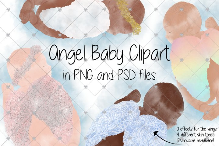 Watercolour Angel Baby In Memory Clipart