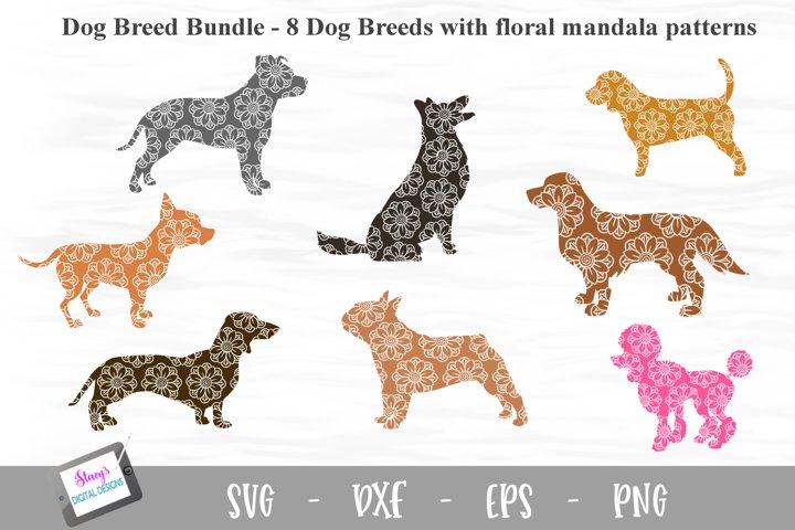 Dog Breed Bundle - 8 Dog Breed SVGs with mandala patterns