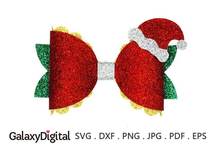 Christmas Hair Bow SVG, Santa Claus Hair Bow Template SVG