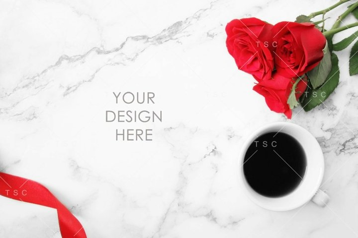 Red Roses & Coffee Styled Stock Photo