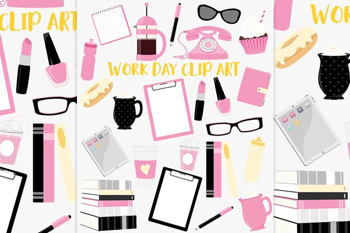 Office girl clipart set