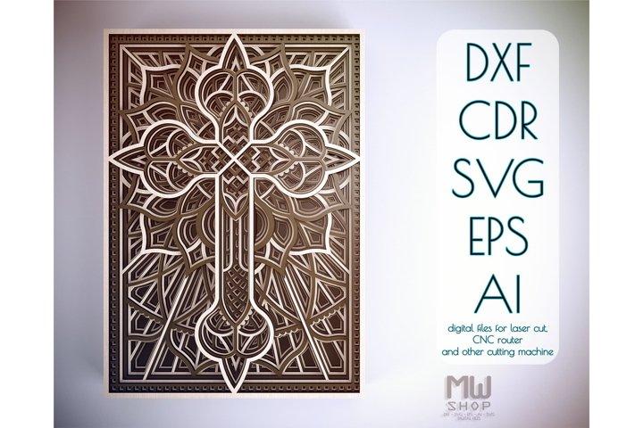 Cr06 - Religious Cross, Layered Cross DXF pattern, Cross SVG