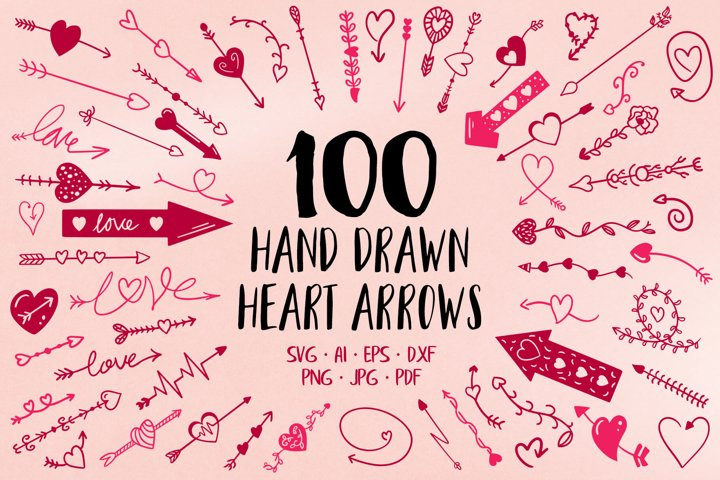 100 Hand Drawn Heart Arrow SVG Files