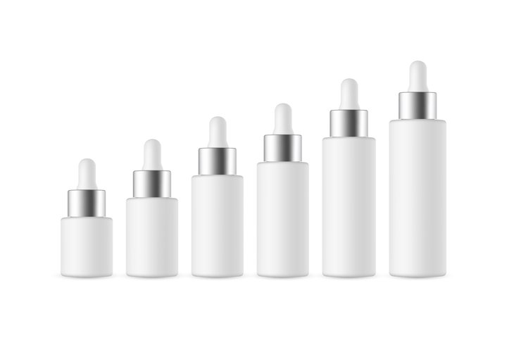 Set of Dropper Bottles with Metal Cap of Various Sizes