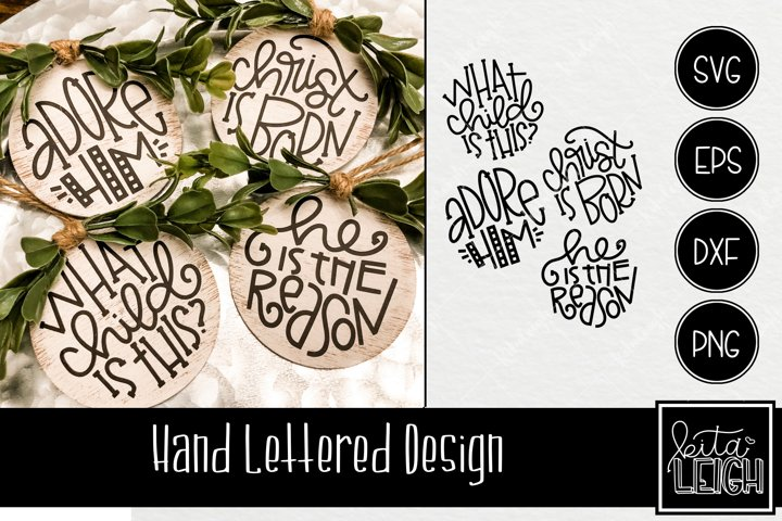 Hand Lettered Religious Christmas Rounds 2 SVG
