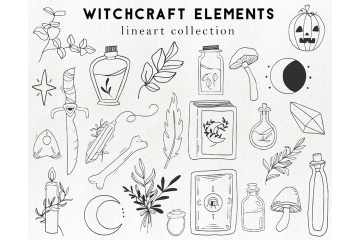 25 witchcraft elements - boho, magic, halloween clipart