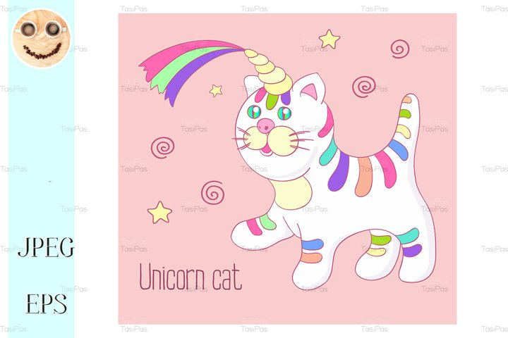 Unicorn cat with rainbow horn and stripes isoleted