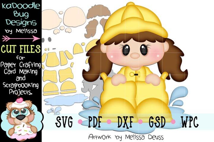 Rain Boot Girl Peeker Cut File - SVG PDF DXF GSD WPC