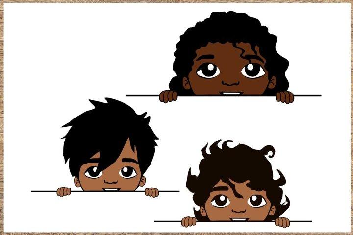 Peekaboo, Cute black African American kids, boy