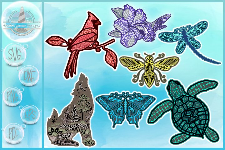 3D Mandala Bundle SVG   3D Layered Animal Designs