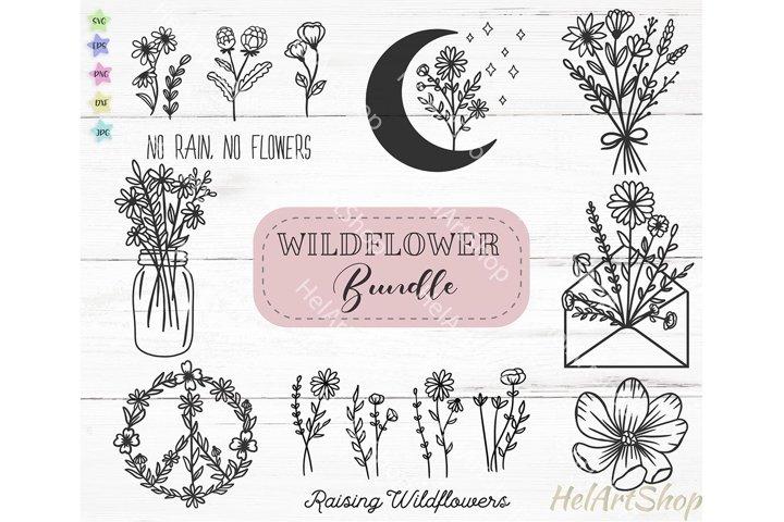 Wildflower Bundle svg, Flower svg, Farmhouse svg, Plant svg