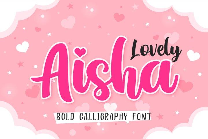 Lovely Aisha | A Bold Calligraphy Script Font