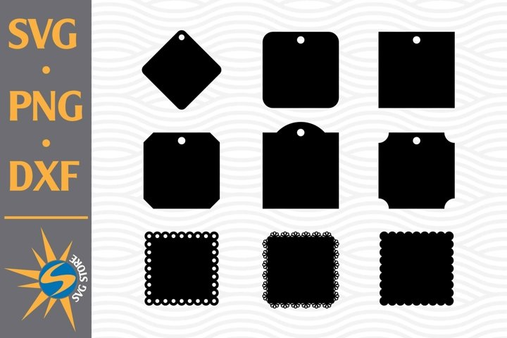 Square Tag Silhouette SVG, PNG, DXF Digital Files Include