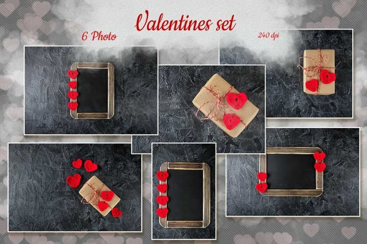 Set of 6 pictures of Valentines gift boxes