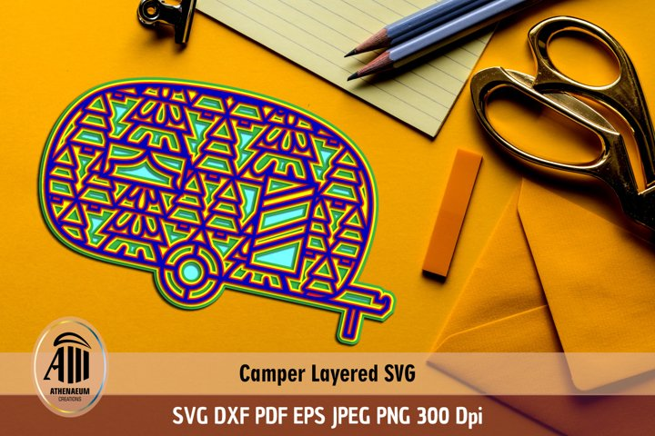 Camper Mandala SVG| 3d Layered Camper| Camper SVG