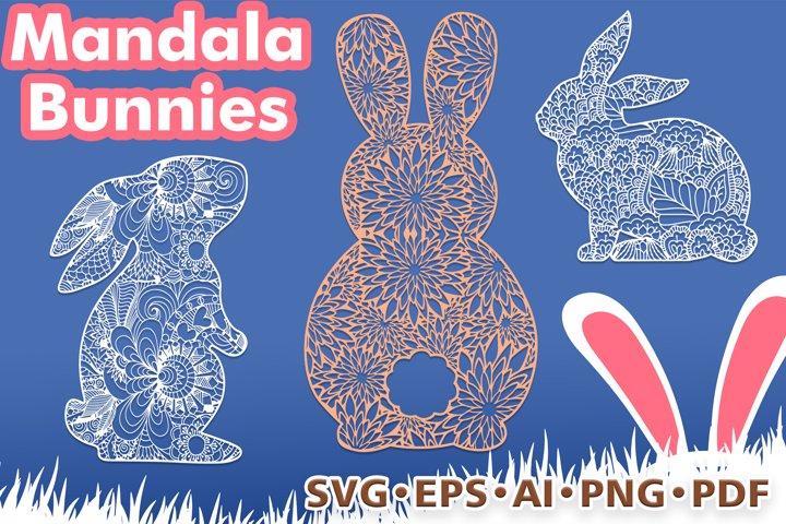 Easter Bunnies Mandala Style. Zentangle Bunny, 3 designs