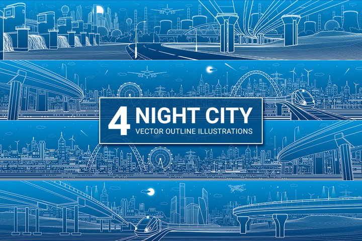 Night city. 4 vector outline illustration.