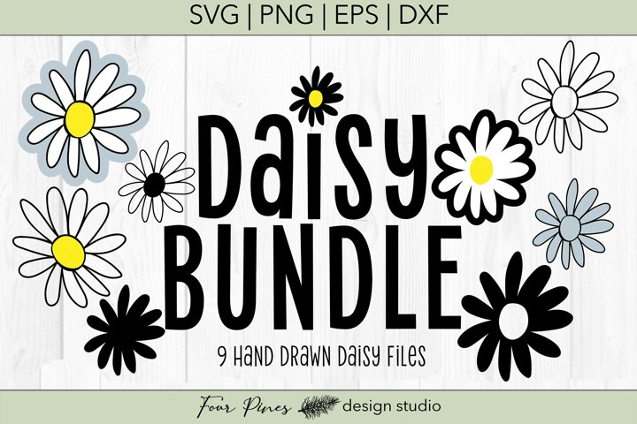 Daisy Flower Bundle - 9 Hand drawn flowers SVG png eps dxf example