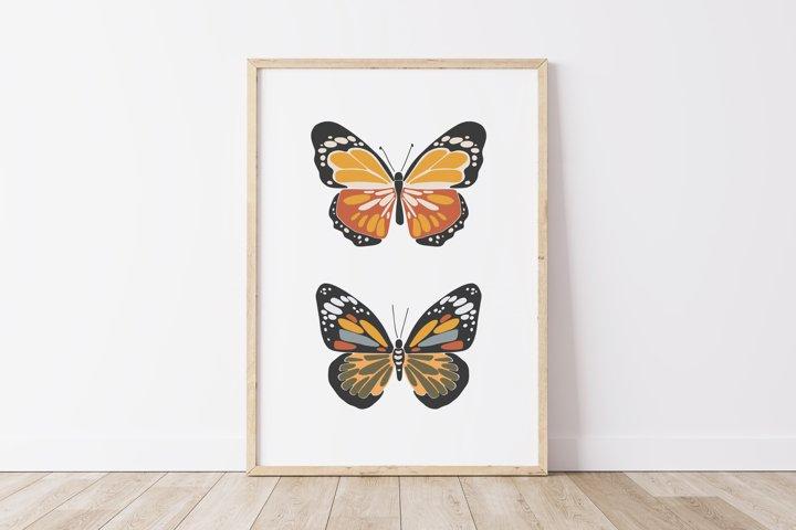 Boho butterfly print, Digital butterfly poster, Spring print