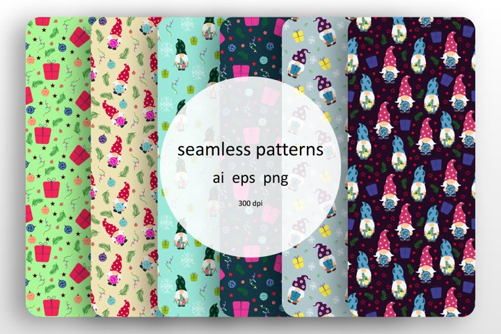 Set of 6 seamless patterns with Christmas gnomes