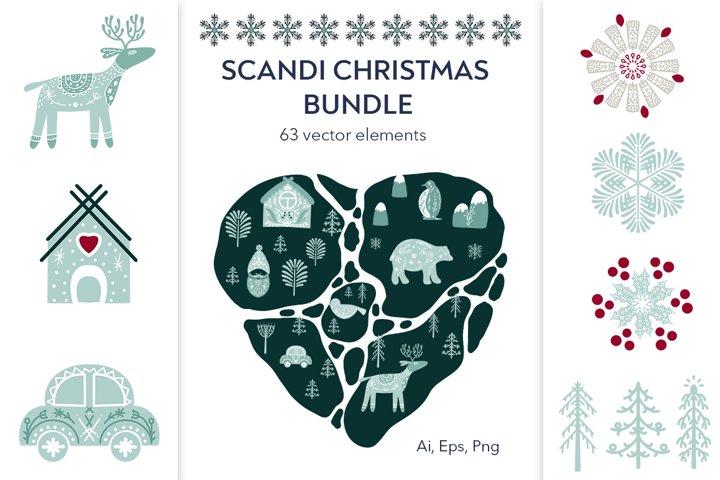Scandinavian Christmas bundle vector, png clipart