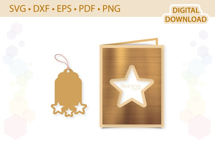 Star Card Gift Tag Bundle template .svg .dxf .eps .pdf .png