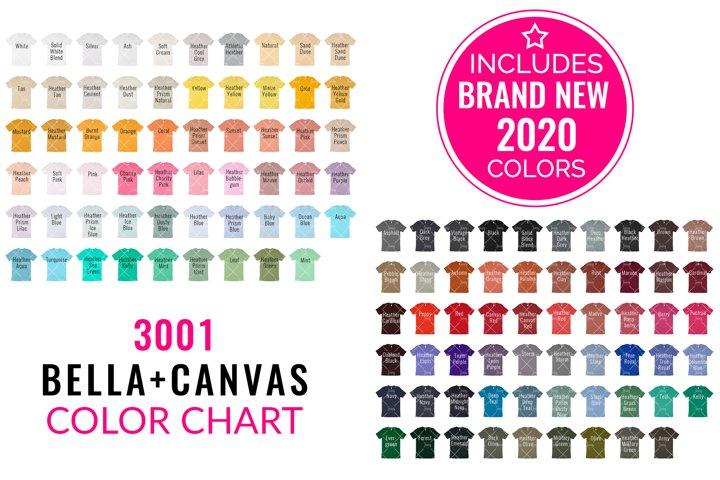 Bella Canvas 3001 Mockup Color Chart