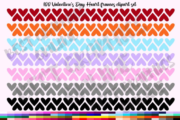 100 Valentines Day Hearts banner Frames clipart borders